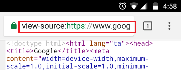 How to View Page Source on Mobile browsers? - Techglimpse