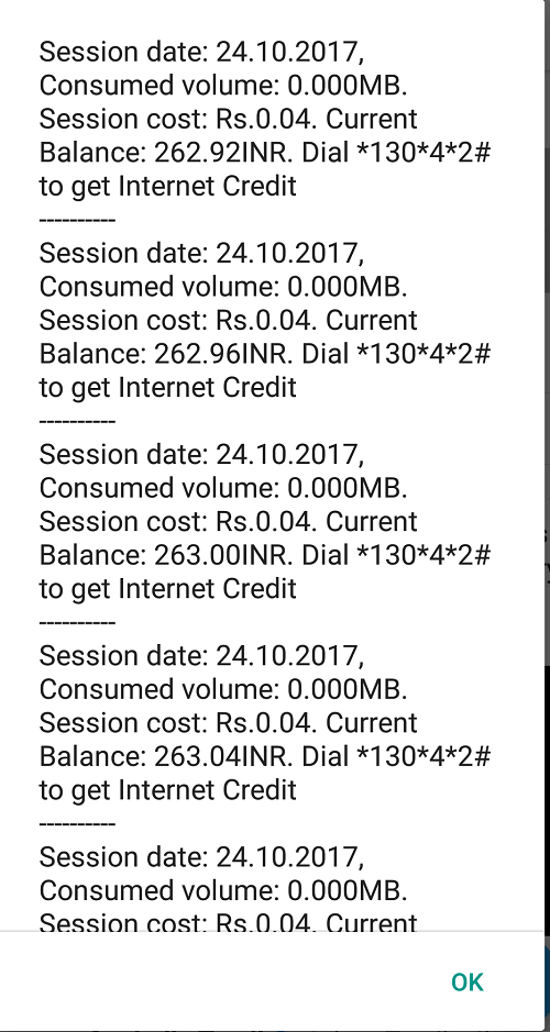 Vodafone session cost 0.04