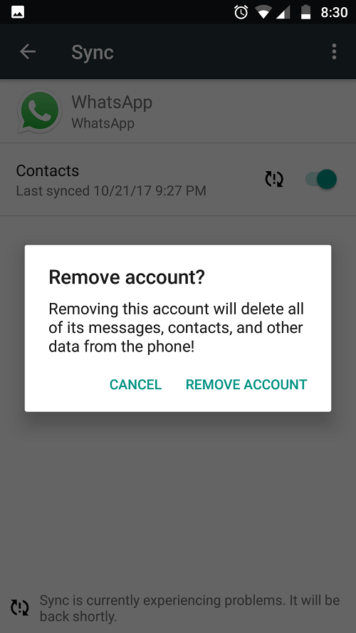 WhatsApp sync error