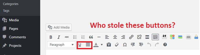 WordPress Remove Justify & Underline