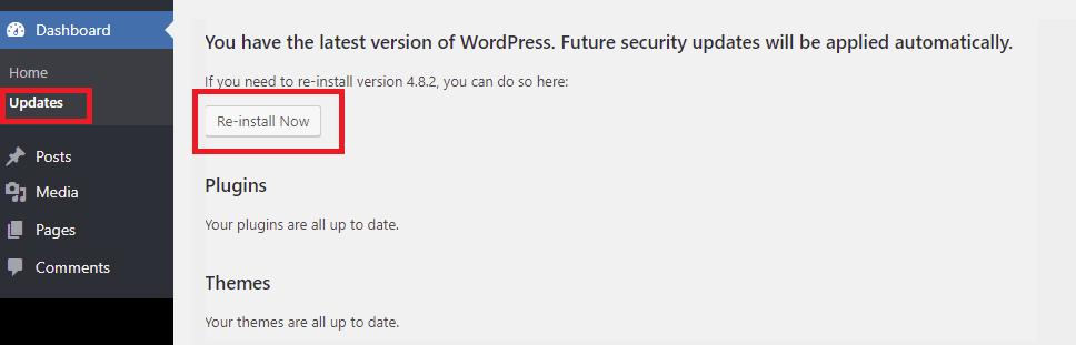 Reset WordPress core files