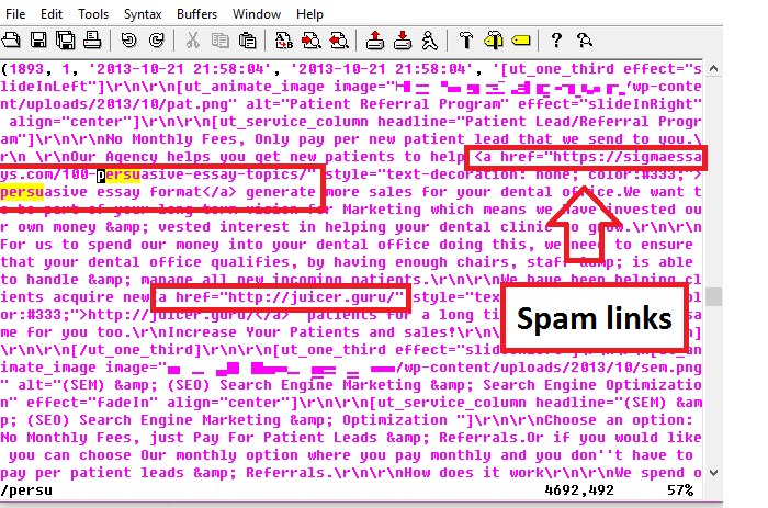 Black seo spam links