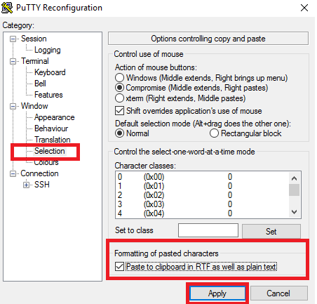 putty copy to clipboard in RTF