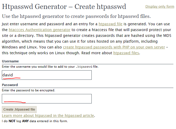 htpassword file generator