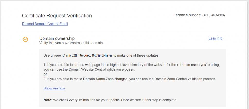certificate verification pending