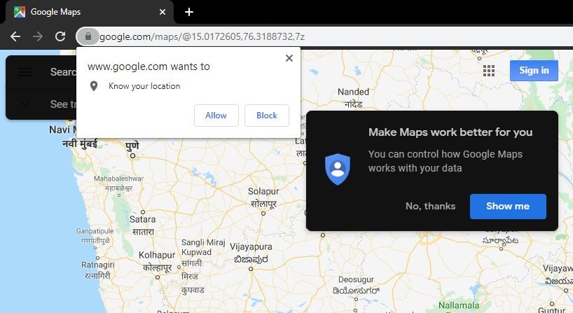 Chrome emulate location