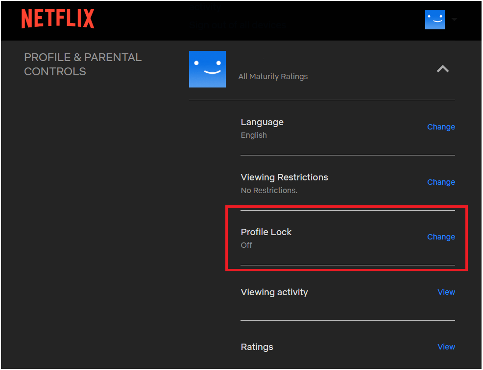 Netflix Profile Settings Page