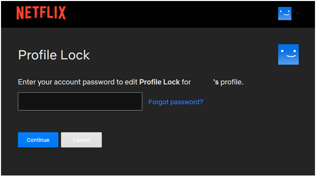 Netflix set profile lock