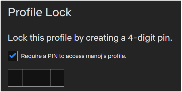 Netflix set profile pin