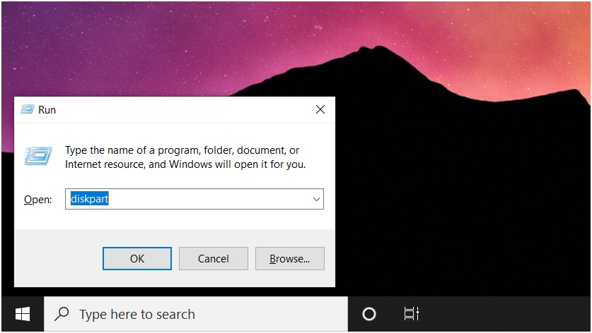 Launch diskpart on windows