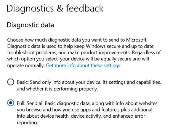 Windows 10 Diagnostics & Feedback