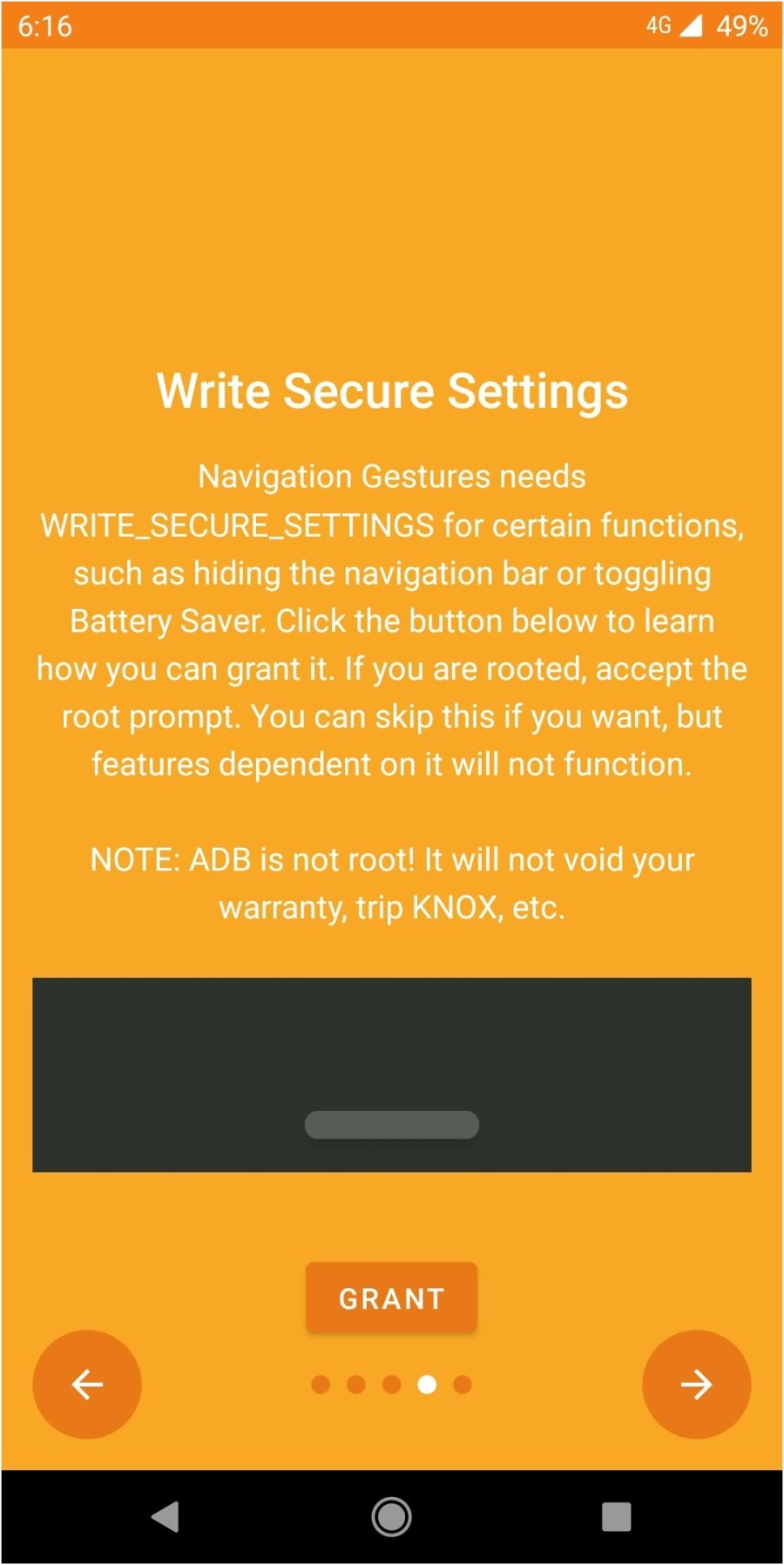 secure settings - Navigation Gesture
