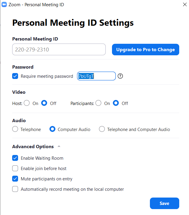 Personal meeting Id settings