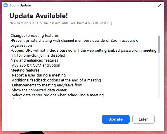 Zoom 5 update available