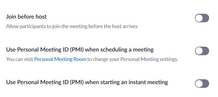 Zoom meeting configuration schedule