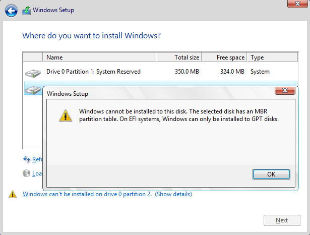 Windows cannot be installed to this disk