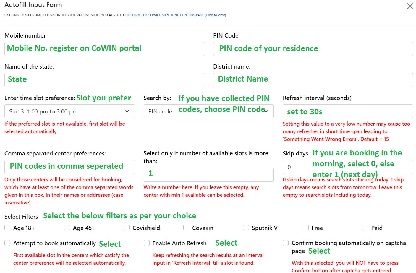 CoWIN Auto fill input data