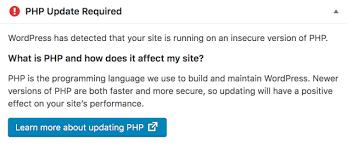 WordPress notification on PHP version