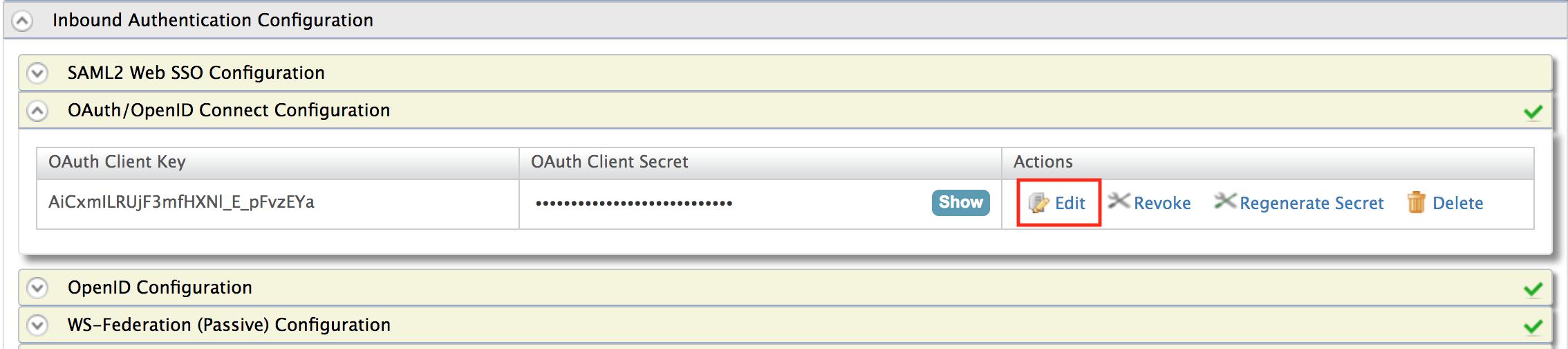 OAuth configuration