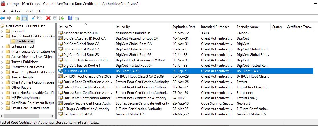 Trusted Root Certification Authorities