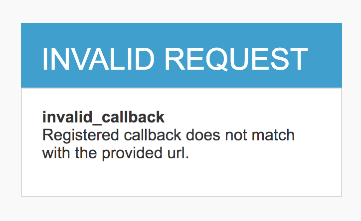 Registered callback does not match